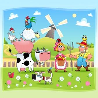 Coloured farm background