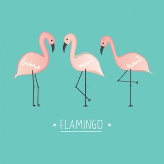 Coloured flamingos background