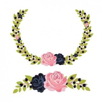 Coloured floral wreath design
