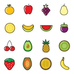 Coloured fruit icons