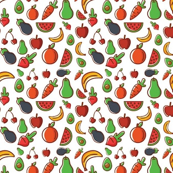 Coloured fruit seamless pattern