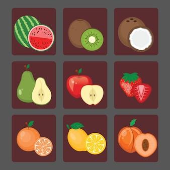 Coloured fruits collectio