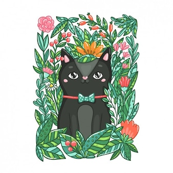 Coloured hand drawn cat