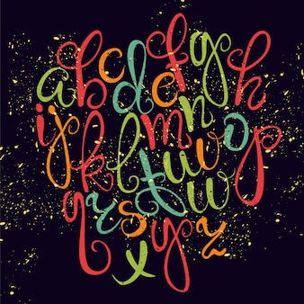 Coloured hand drawn typography