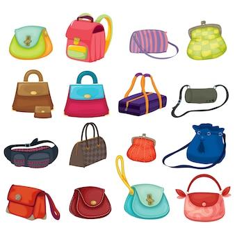 色とりどりのハンドバッグコレクション