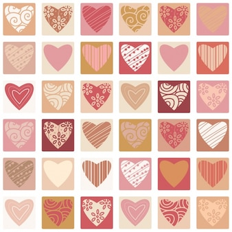 Coloured hearts collection