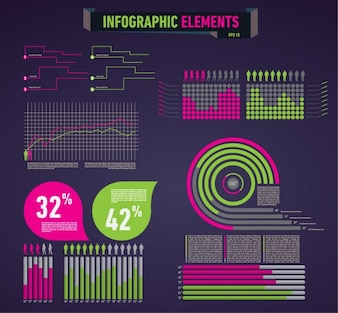 Coloured infographic elements
