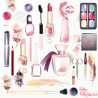 Coloured make up elements collection