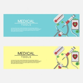 Coloured medical tools banners