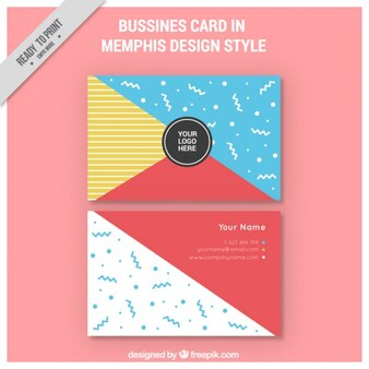 Coloured memphis style business card
