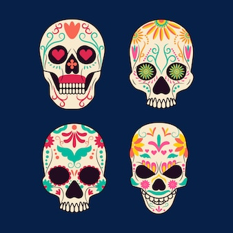 Coloured mexican skull collection