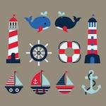 Coloured nautical elements