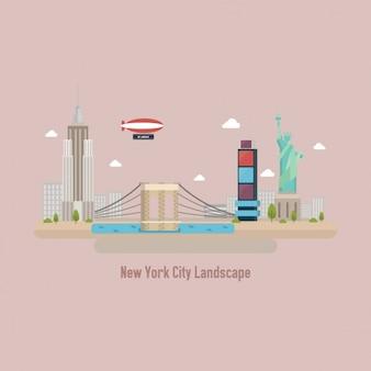 Coloured new york landscape