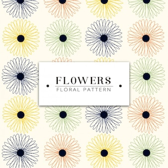 Coloured outlined flowers pattern design