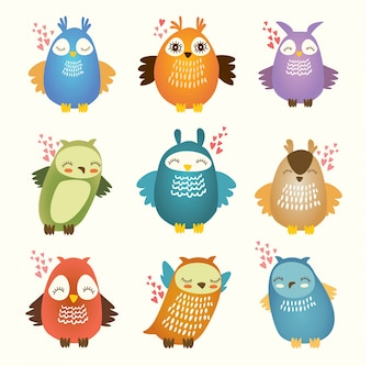Coloured owls collection