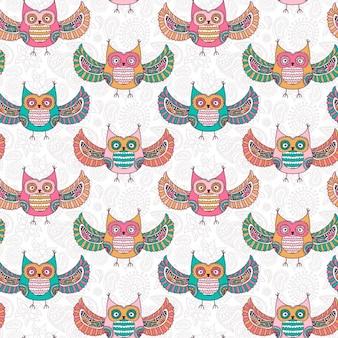 Coloured owls pattern design