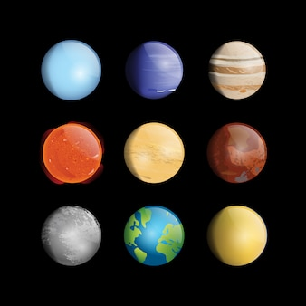 Coloured planets collection