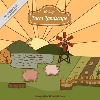 Coloured retro farm landscape