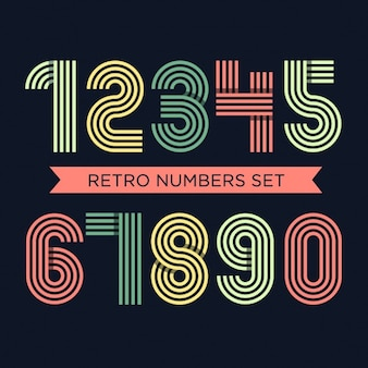 Coloured retro numbers set