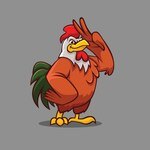 Coloured rooster design