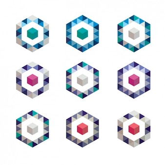 Coloured shapes made of polygons