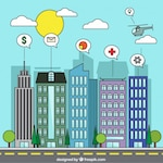 Coloured smart city background