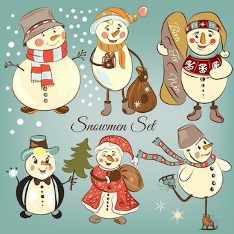 Coloured snowmen set