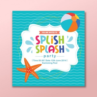 Coloured summer party invitation card