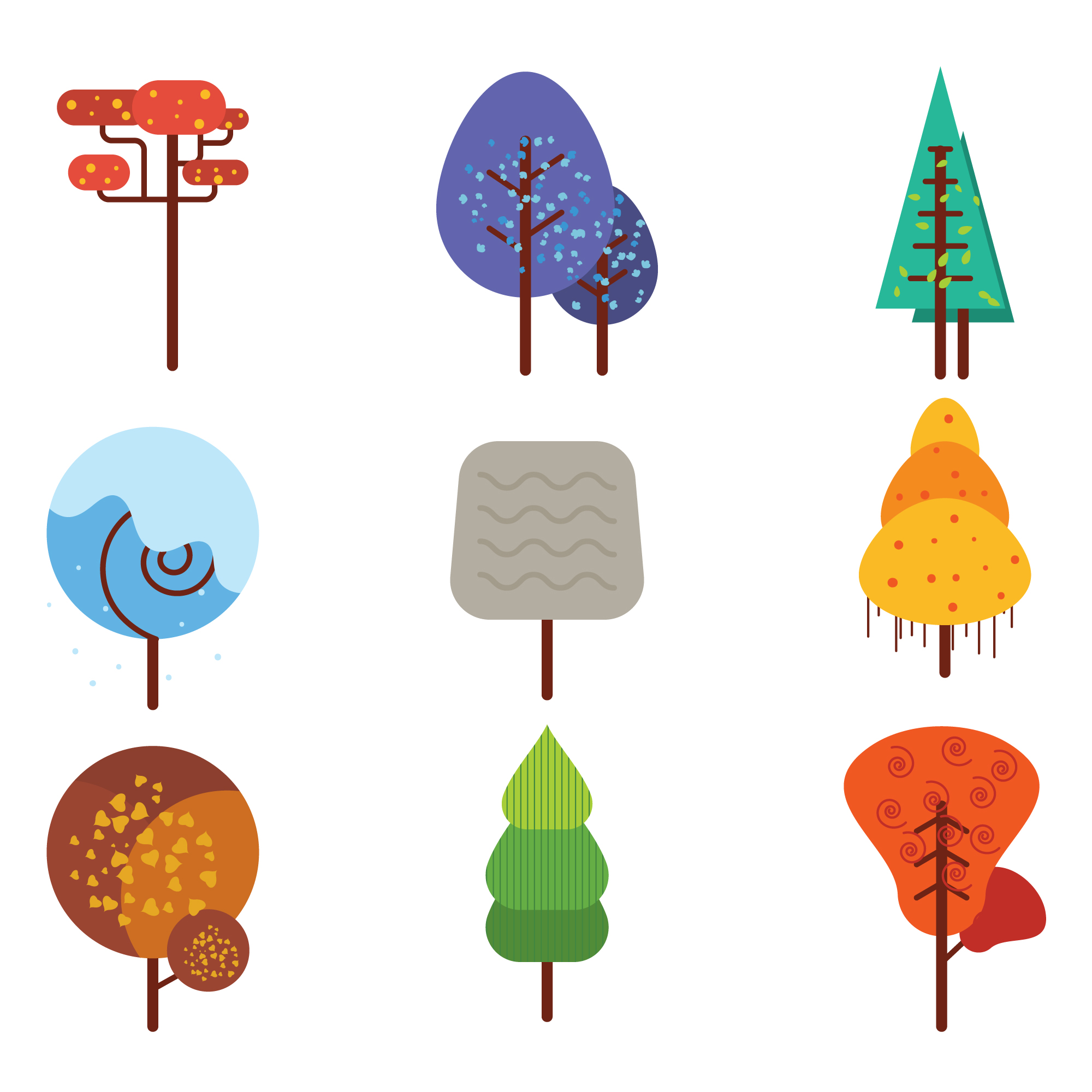 Coloured trees collection