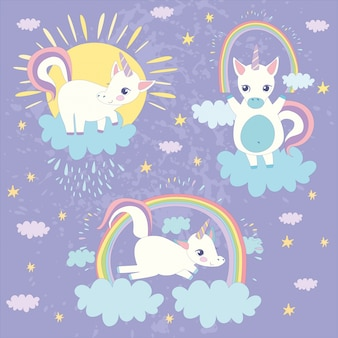 Coloured unicorns background