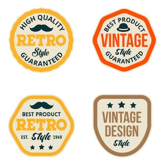 Coloured vintage labels