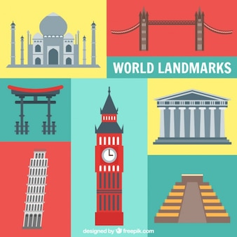 Coloured world landmarks
