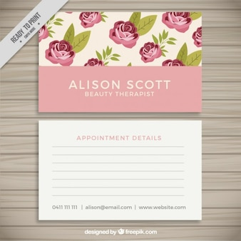Coloures business card with roses