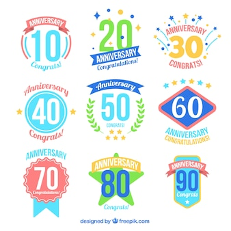 Colourful anniversary badges