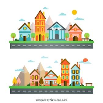Colourful cute city