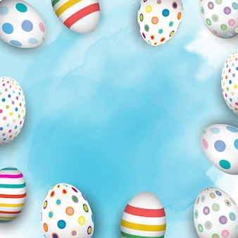 Colourful easter eggs on  watercolour background