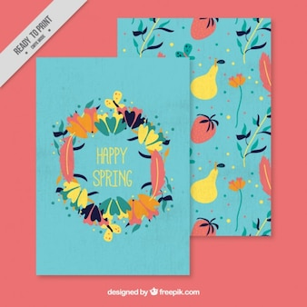 Colourful floral spring card