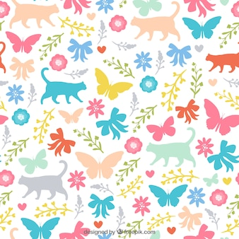 Colourful nature silhouettes pattern
