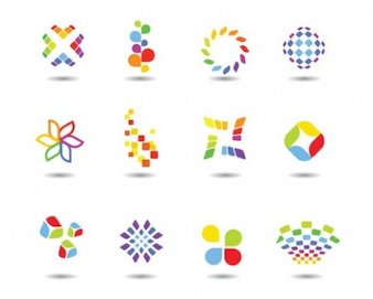 Colourful shapes and logotypes elements