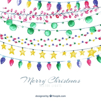 Colourful watercolour christmas lights