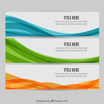Colourful wave web banners