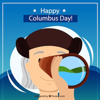Columbus day background with telescope