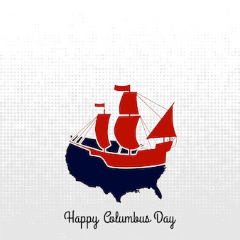 Columbus day boat label. vector calligraphy.