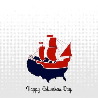 コロンブスの日ボートレーベル。ベクトル書道。