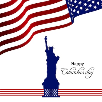 Columbus Day. Usa flag  background with ship. Vector illustration.
