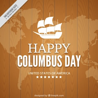 Columbus day with a wooden background