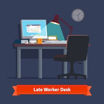 Comfortable home workplace with turned on desktop