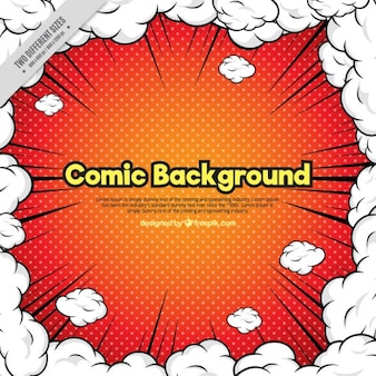 Comic background surrounded by clouds of smoke