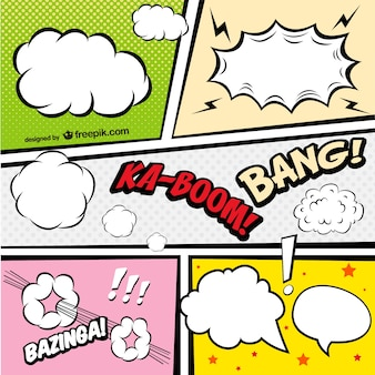 Comic Book speech bubbles in different colors