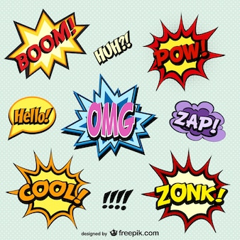 Comic book words onomatopoeia
